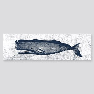 Vintage Whale Dark Blue Sticker (Bumper)