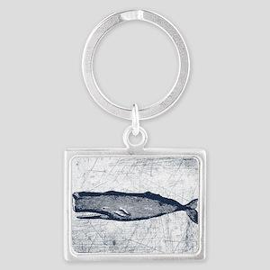 Vintage Whale Dark Blue Landscape Keychain