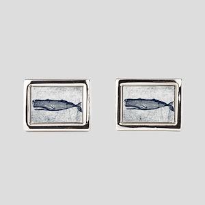 Vintage Whale Dark Blue Rectangular Cufflinks