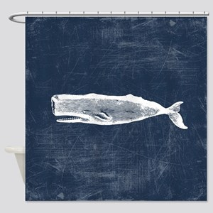Vintage Whale White Shower Curtain