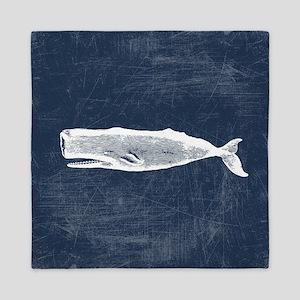 Vintage Whale White Queen Duvet