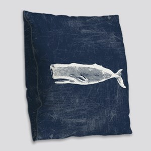 Vintage Whale White Burlap Throw Pillow