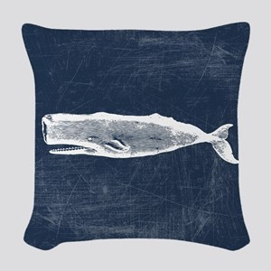 Vintage Whale White Woven Throw Pillow