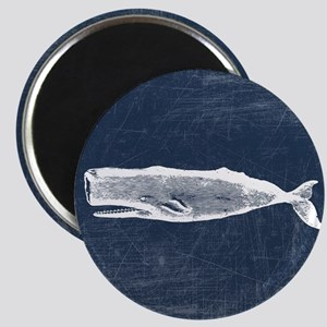 Vintage Whale White Magnet