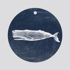 Vintage Whale White Ornament (Round)