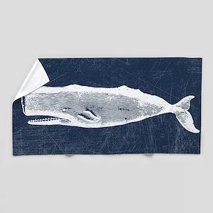 Vintage Whale White Beach Towel