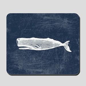 Vintage Whale White Mousepad