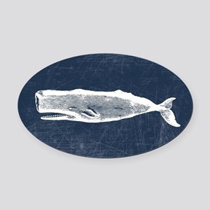 Vintage Whale White Oval Car Magnet