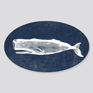 Vintage Whale White Sticker (Oval)