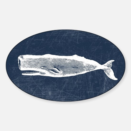 Vintage Whale White Sticker (Oval)