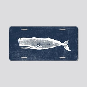 Vintage Whale White Aluminum License Plate