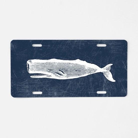 Vintage Whale White Aluminum License Plate