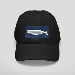 Vintage Whale White Black Cap