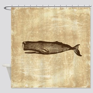 Vintage Whale Brown Shower Curtain