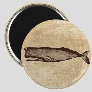 Vintage Whale Brown Magnet