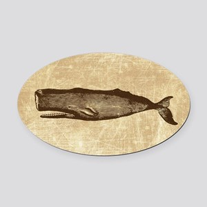 Vintage Whale Brown Oval Car Magnet
