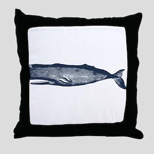 Vintage Whale Dark Blue Throw Pillow