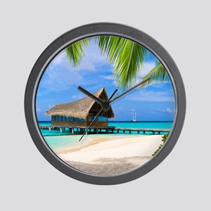 Beach And Bungalow Wall Clock