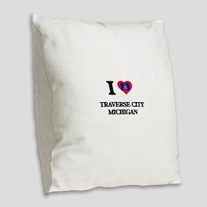 I love Traverse City Michigan Burlap Throw Pillow