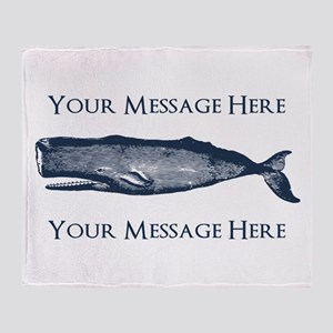 PERSONALIZED Vintage Whale Throw Blanket