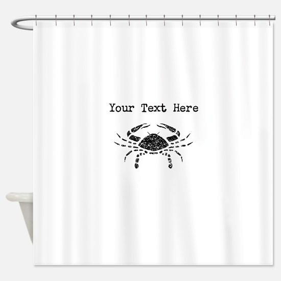 Distressed Crab Silhouette (Custom) Shower Curtain