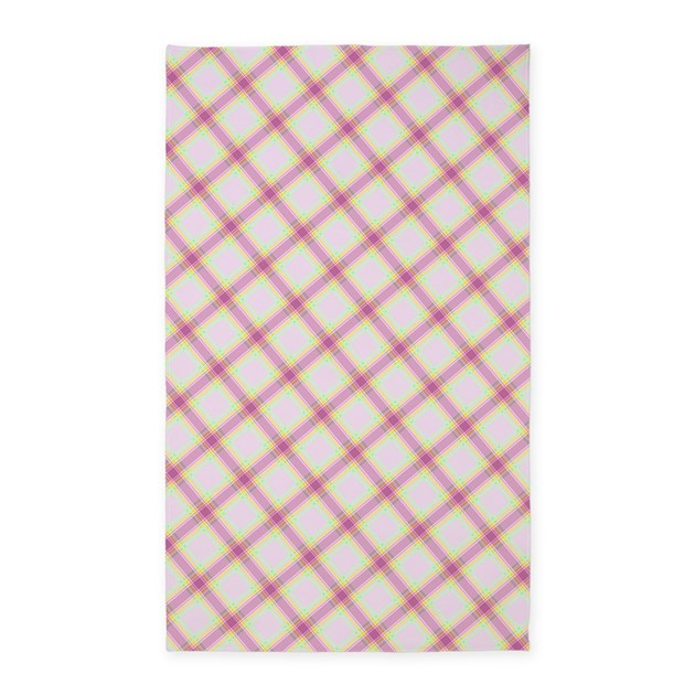 Diagonal Pink Plaid Area Rug By FlaminGraphicDesigns