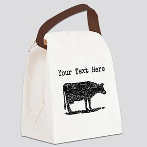 Distressed Cow Silhouette (Custom) Canvas Lunch Ba