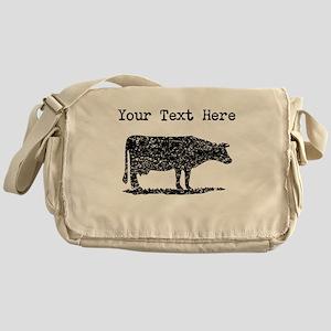 Distressed Cow Silhouette (Custom) Messenger Bag