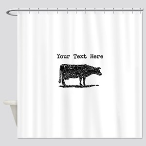 Distressed Cow Silhouette Custom Shower Curtain