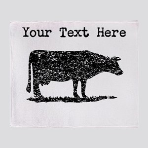 Distressed Cow Silhouette (Custom) Throw Blanket