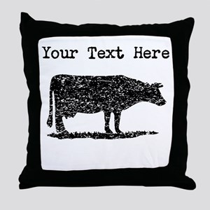 Distressed Cow Silhouette (Custom) Throw Pillow