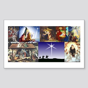 Christmas Nativity Medley Sticker (Rectangle)