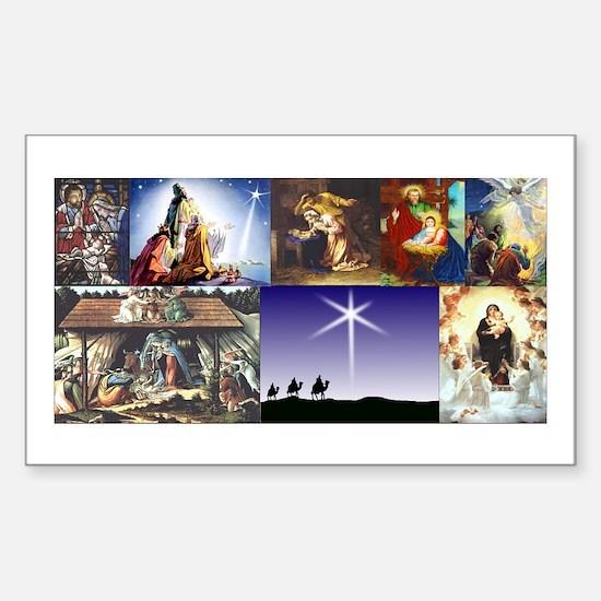 Christmas Nativity Medley Sticker (Rectangle)