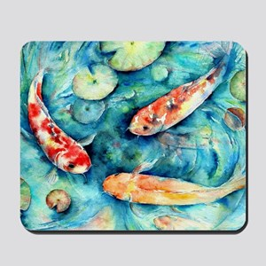 Watercolor Koi in Lily Pond Mousepad