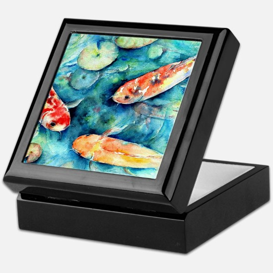 Watercolor Koi in Lily Pond Keepsake Box