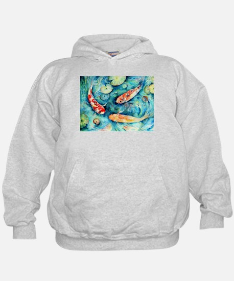 Watercolor Koi in Lily Pond Hoodie