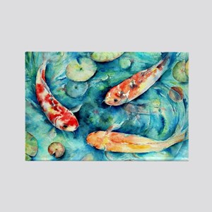 Watercolor Koi in Lily Pond Magnets
