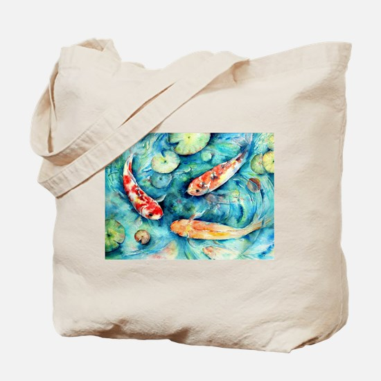 Watercolor Koi in Lily Pond Tote Bag