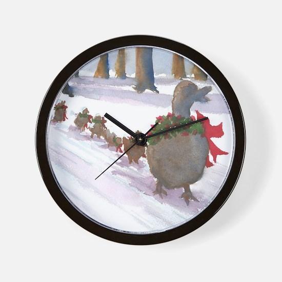 Boston Common Ducks at Christmas Wall Clock