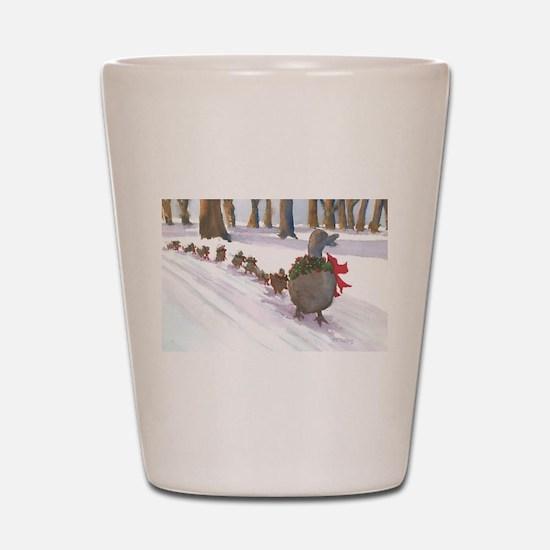 Boston Common Ducks at Christmas Shot Glass
