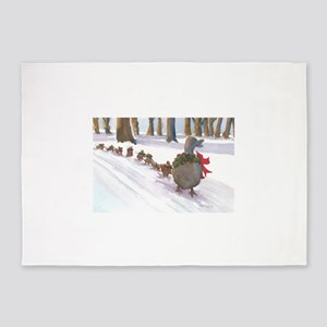 Boston Common Ducks at Christmas 5'x7'Area Rug