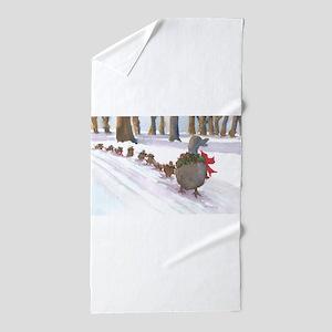 Boston Common Ducks at Christmas Beach Towel