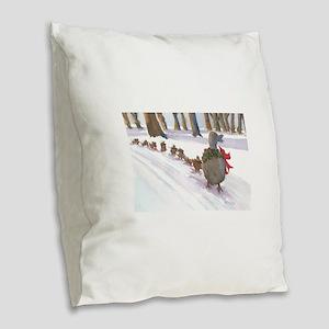 Boston Common Ducks at Christm Burlap Throw Pillow
