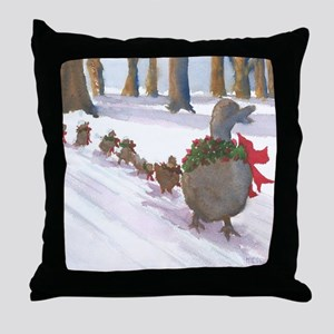 Boston Common Ducks at Christmas Throw Pillow