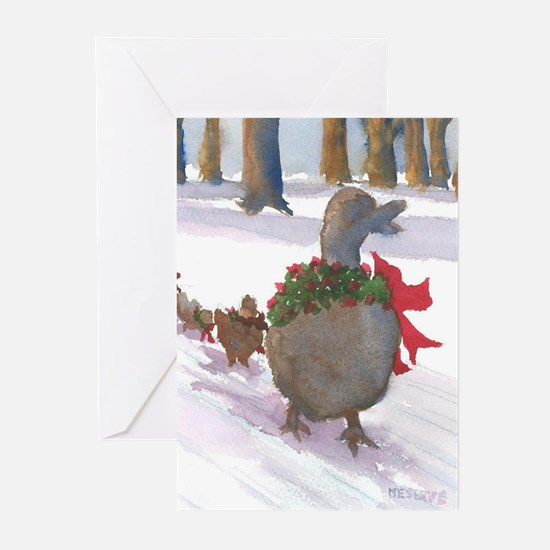 Boston Common Ducks at Christmas Greeting Cards