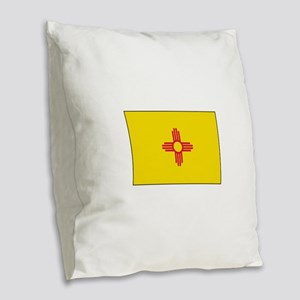 New Mexico Flag Burlap Throw Pillow