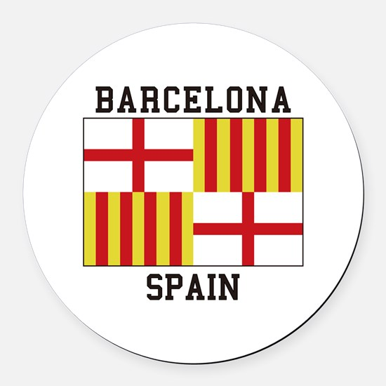 Barcelona Spain Round Car Magnet