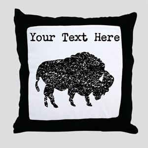 Distressed Bison Silhouette (Custom) Throw Pillow