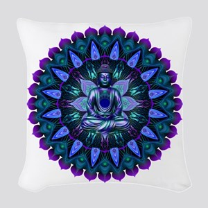 The Evening Light Buddha Woven Throw Pillow