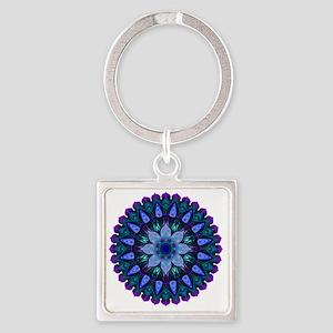 Evening Light Mandala Square Keychain